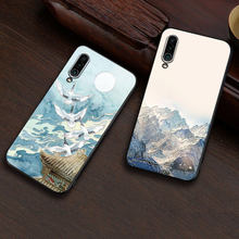 Embossed vintage East Asian Chinese Japanese style case For Meizu 16xs Snow Mountain Decree Crane cover