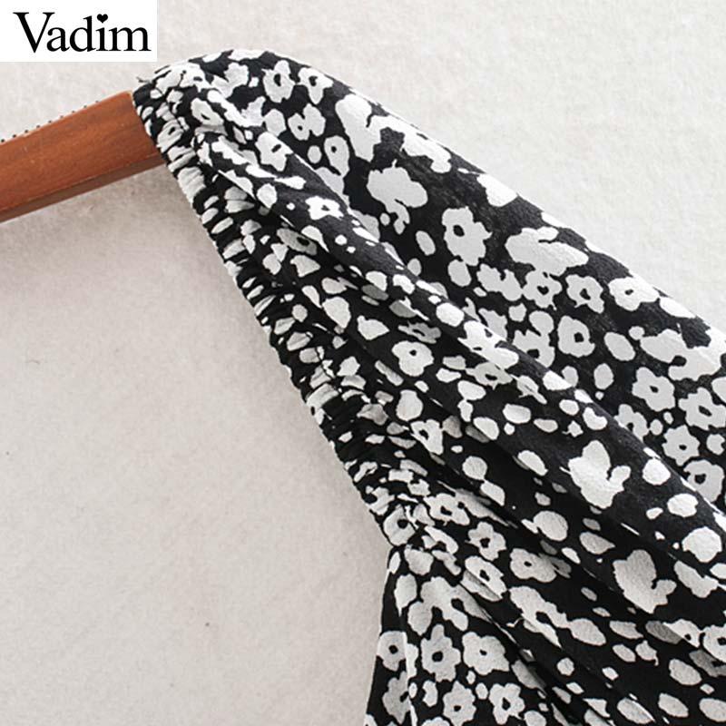 Image 3 - Vadim women sexy print ruffled mini dress side zipper three quarter sleeve pleated design female slim casual dresses QD188Dresses   -