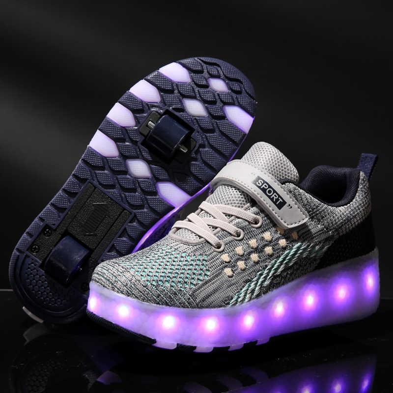 Gri Heelys 2020 yeni USB şarj LED renkli çocuk çocuk moda Sneakers ile iki tekerlekler paten ayakkabı erkek kız ayakkabı