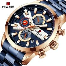 REWARD Men Watch Clock Top Brand Luxury Chronograph Blue Stainless Steel Quartz Watch Men Waterproof Luminous Relogio Masculino