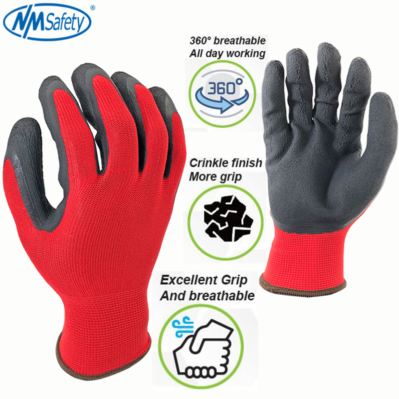 1pair Red Glassy Latex Household Gloves Labor Protection waterproof Thin type