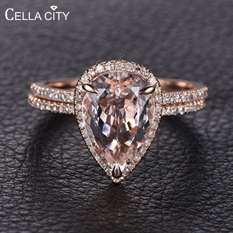 Cellacity Silver 925 Jewelry Water Drop Shaped Gemstones Ring for Women Pink Crystal Rose Gold Color Two Piece Set Wedding Party