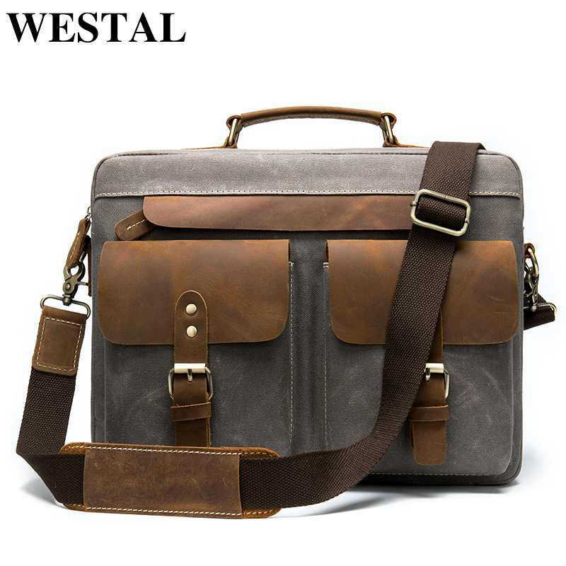 WESTAL Porte Document Men's Briefcase Leather Laptop Bag Men Leather Office Bags For Men Business Bag For Document Cool Designer