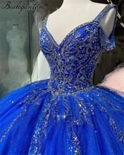 Bealegantom decote em v azul real espaguete cinta quinceanera vestidos 2021 vestido de baile doce 16 vestido de baile vestidos de 15 anos