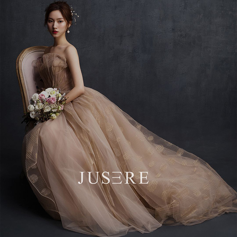 Champagne Color A-Line Strapless Neckline Simple Draped Lace-up Back Sweep Train Evening Dress Prom Dress