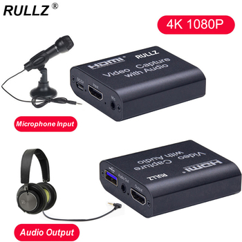 4K TV Loop 1080p HDMI Graphics Capture Card USB 2.0 3.0 Recording Box Game Live Streaming Mic In Audio Out Phone Video Recorder