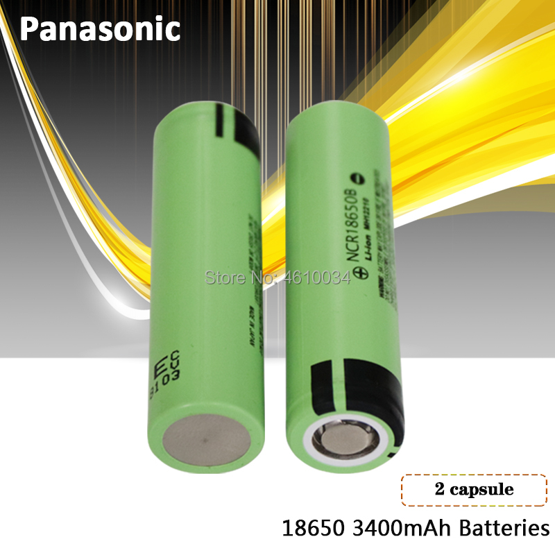 2 шт. Panasonic 100% Оригинальный 3,7 в 18650 3400 мАч литиевая аккумуляторная батарея NCR18650B для фонариков тормозных компьютеров
