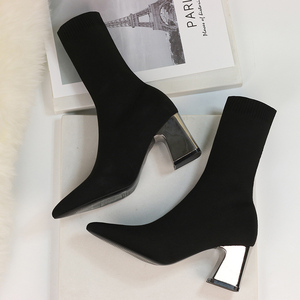 Image 2 - 2020 Spring Fashion Women Boots Beige Pointed Toe Yarn Elastic Ankle Boots Thick Heels Shoes Autumn Winter Female Socks Boots