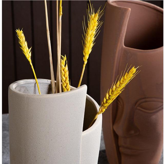 Nordic Ceramic Art Vase Sculpture Crafts Human Face Family Flower Pot Handmade Garden Storage Flower Arrangement Home Decors 5