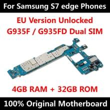 Versão da ue telefone oficial placa mãe para samsung galaxy s7 borda g935f g935fd placa mãe com chips imei android os placa lógica