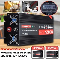Inverter 12V/24V/48/60V 220V 2600/4200W Voltage transformer Pure Sine Wave Power Inverter DC12V to AC 220V Converter+LED Display