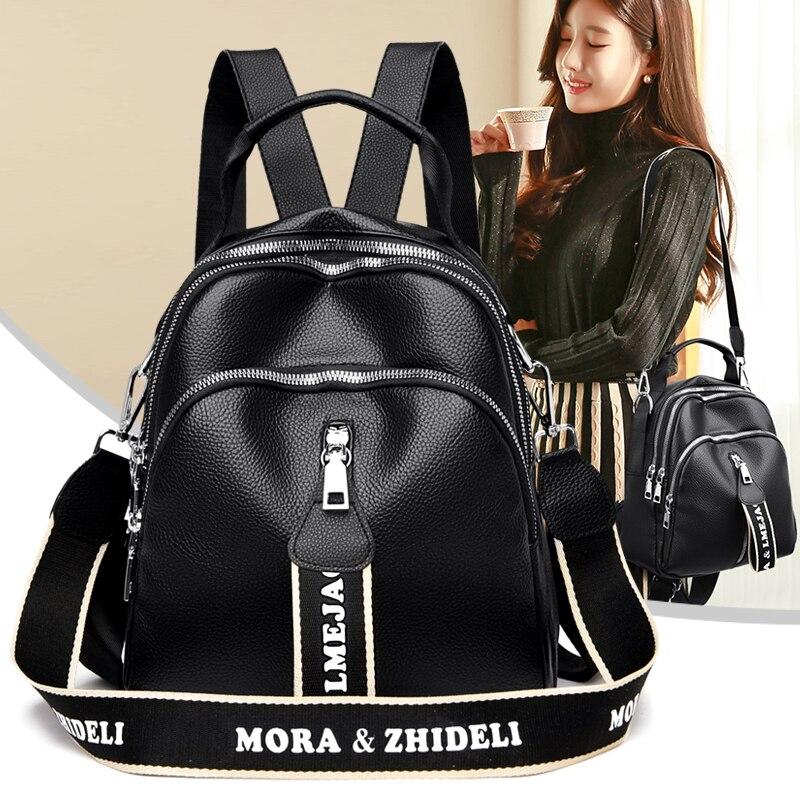 Women's Black Portable Backpack PU Leather Large Capacity Wide Shoulder Strap Shoulder Bag Girls Quality Bagpack for School Sac