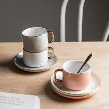 Керамическая кофейная чашка блюдца костюм Северной Европы роскошный с ложкой послеобеденный чай черный чай чашка лаконичный Пномпень чашка