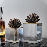 Luxurious Natural Brown Blue Crystal Stone Statue Home Craft Room Decor Office Hotel Decor Sculpture Accessories Wedding Gifts