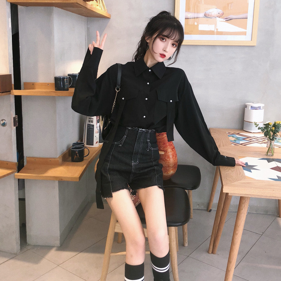 Sense Of Design Black And White With Pattern Long-sleeved Shirt High-waisted Open Wire Irregular Denim Shorts