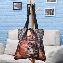 Shopper Tote Handbag Linen Printed Large Waterproof Fashion Women Casual Cat-Oil Cartoon
