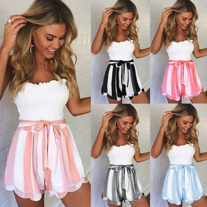 Women Casual Shorts Bow Lace Up High Waist Tulle Summer Short Skirt Sweet Loose A Line Petal Hem Black Stripe Short Streetwear