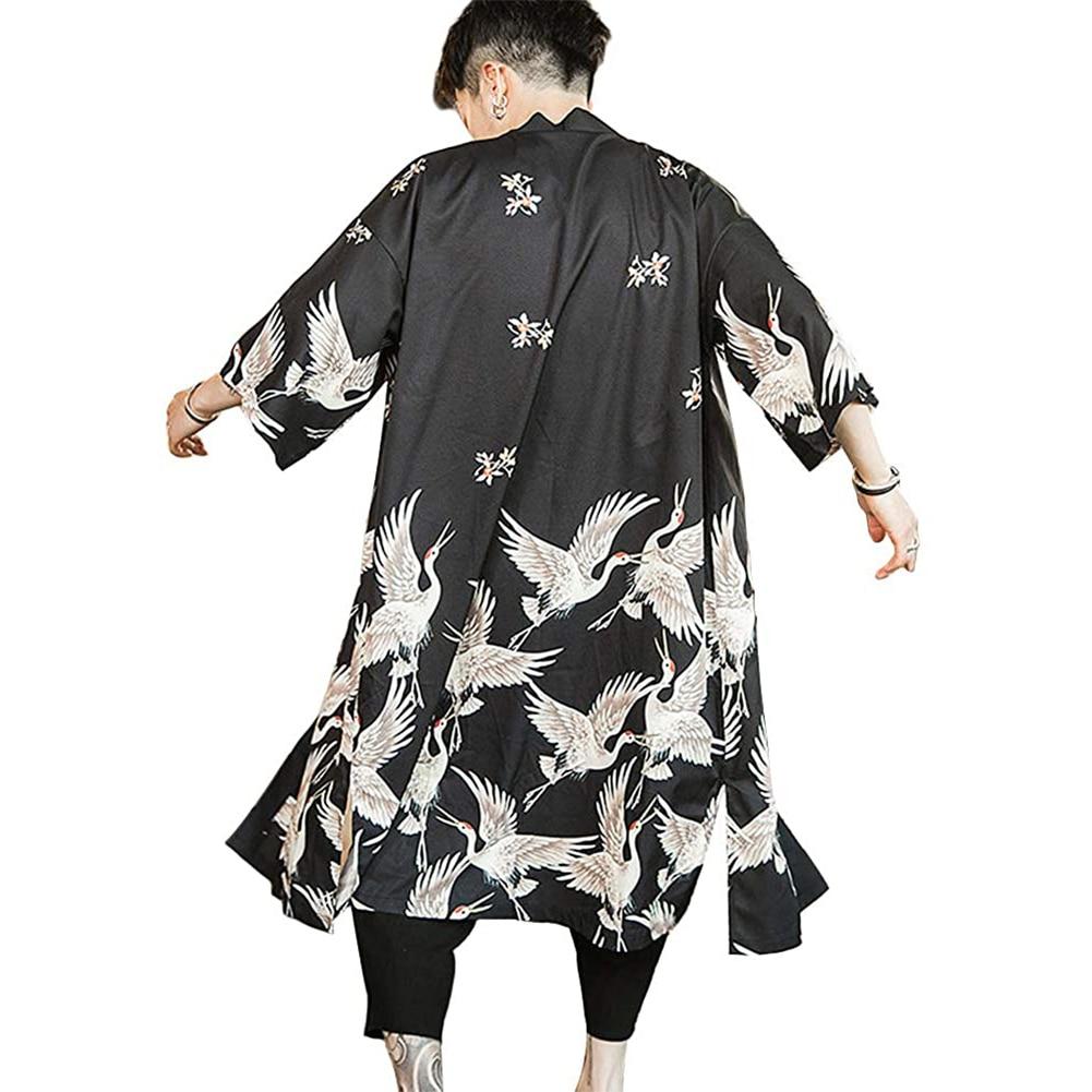 6XL Plus Size Yukata Haori Men Japanese Long Kimono Cardigan Samurai Costume Clothing Nightwear Robe Kimono Vintage Printed