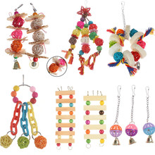 1PC Parrot Toys Wood Birds Standing Chewing Rack Toys Bead Ball Heart Star Shape Parrot Toy Bird Toys Accessories Supplies