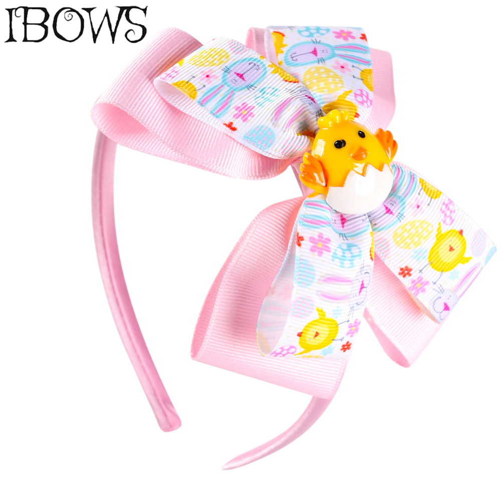 Easter Day Hair Band Layered Bow Cute Turkey Resin Knotted Headband Handmade Print Headwear For Girls Fashion Hair Accessories