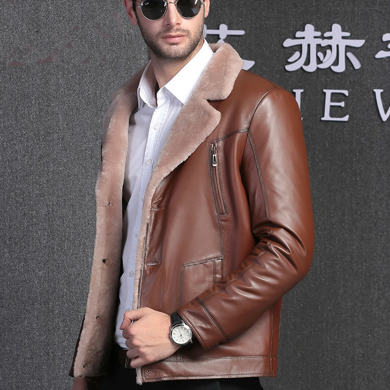 Genuine Fur Coat Men Sheep Shearing Natural Wool Real Leather Jacket Jaqueta De Couro 1606 YY1142