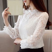 Blusas femininas elegant shirts 2019 womens tops and blouses long sleeve lace blouse shirt for women tops white laides tops 0180 цена