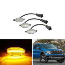 цена на 3PCS Clear lens  Amber  LED Front Grille Running Marker  DRL Lights For Ford F150 F-150 SVT Raptor 2010-2014 2017- Car-Styling