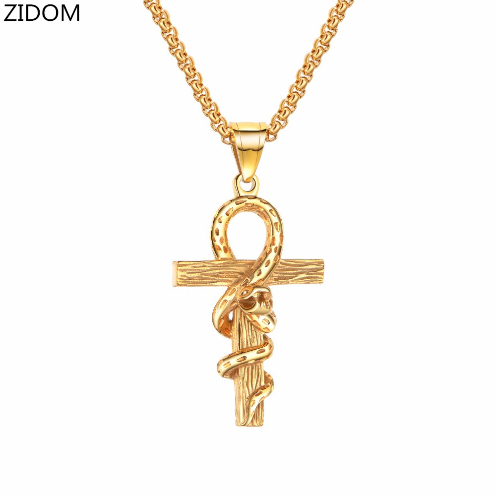 Men 316L Stainless Steel Gothic Ankh cross with snake Pendant Necklaces fashion vintage punk Animal mens necklace jewelry gifts|Pendant Necklaces| - AliExpress
