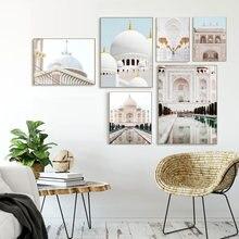 Cartaz nórdico marrocos paisagem igreja porta pintura a óleo impressão arte da parede sala de estar decoração casa