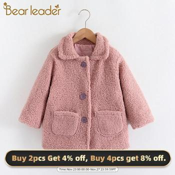 Bear Leader Girls Fleece Warm Winter Outerwear 2-7 Years New Fashion Kids Autumn Solid Coats Children Sweet Clothing Baby Coats new fashion denim child waistcoat winter coats warm fleece baby girls boys vest kids outfits children outerwear for 70 140cm