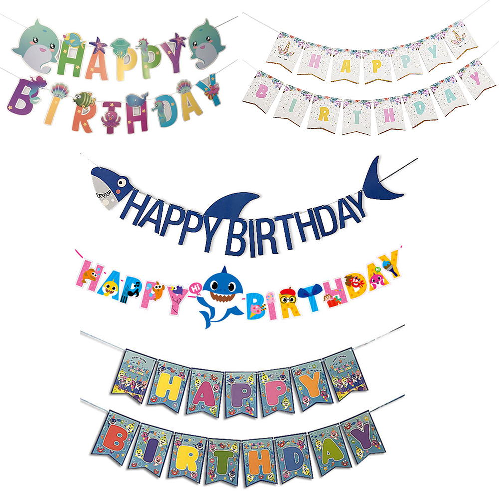 Happy Birthday Party Shark Baby Pulling Bunting Seabed Animal Unicorn Banner Boy Girl Baby Birthday Kids Party Decoration Favor