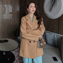 Autumn Winter Woolen Coat Female Casual Pockets Long Sleeve Overcoat  Womens Elegant Outerwear