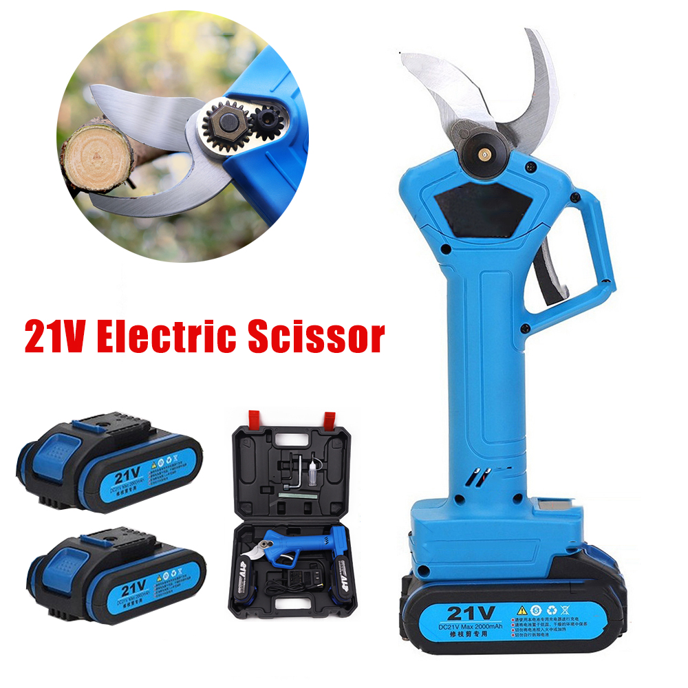 21V Electric Pruning Scissors Garden Pruner Tool Cordless 32mm Tree Pruning Shears Branch Cutter Grafting With 2pcs Battery