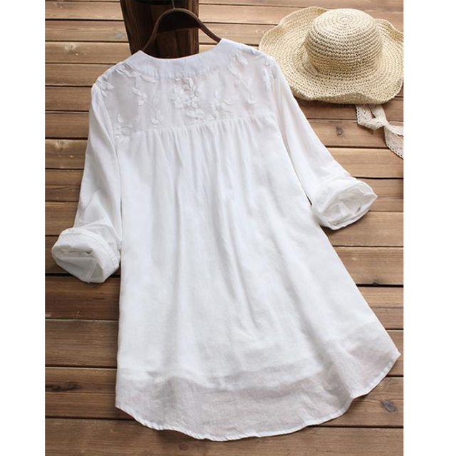 Embroidery Women's White Blouse Casual Plus Size Tops Elegant V-Neck Long Sleeve Tunic Summer Autumn Floral Print Women's Shirt 2