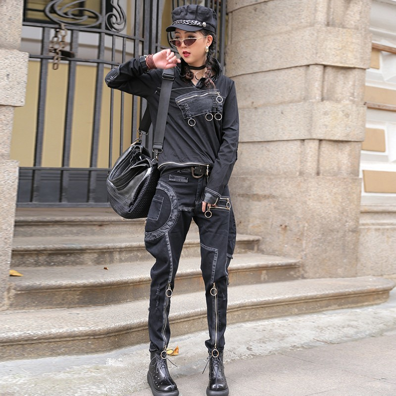 High Street Top Quality Casual Loose Women Two Piece Outfits Long Sleeve Lapel T-Shirts Splice Zipper Fly Frayed Harlan Trousers