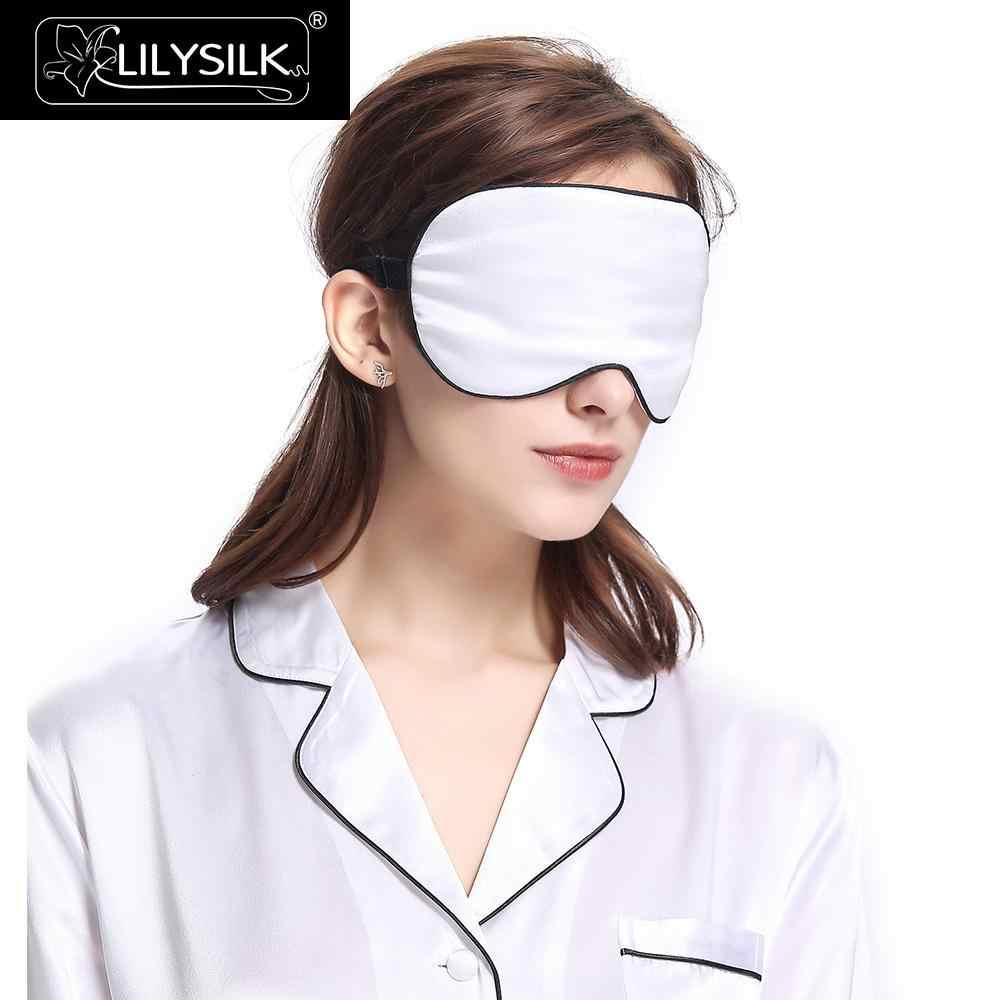 LilySilk Seide Schlaf Maske Augen Maske Schlafen Augen Maske Luxus Maske Mit Schwarz Trimmen Farbe Zufällig Männer Frauen Ausverkauf
