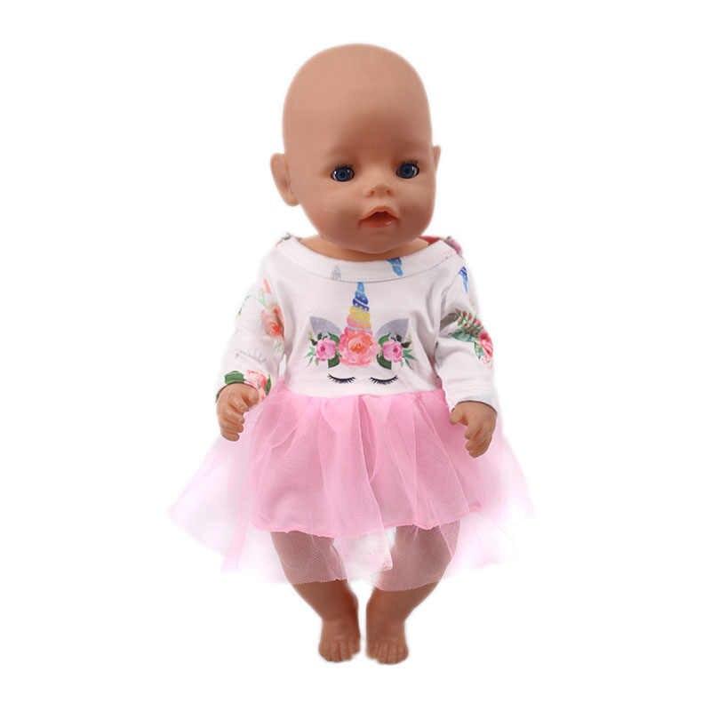 Ropa de muñeca unicornio, 15 conjuntos, camiseta + falda/pantalón, vestido de 18 pulgadas americana y 43 Cm, muñeca recién nacida de generación de niñas para Navidad