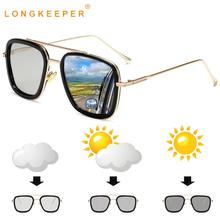 LongKeeper Classic Photochromic Sun Glassses Men Women Polarized Discoloration Glasses Metal Pilot Square Goggle UV400