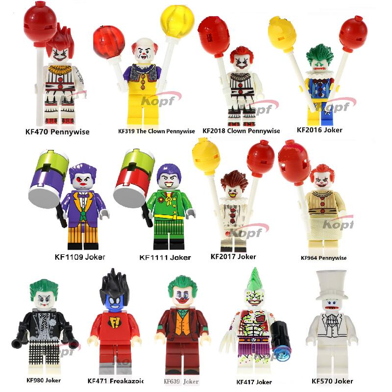 Single Sales Building Blocks Super Heroes Bricks The Clown Pennywise Freakazoid Joker Figures Education Toys For Children