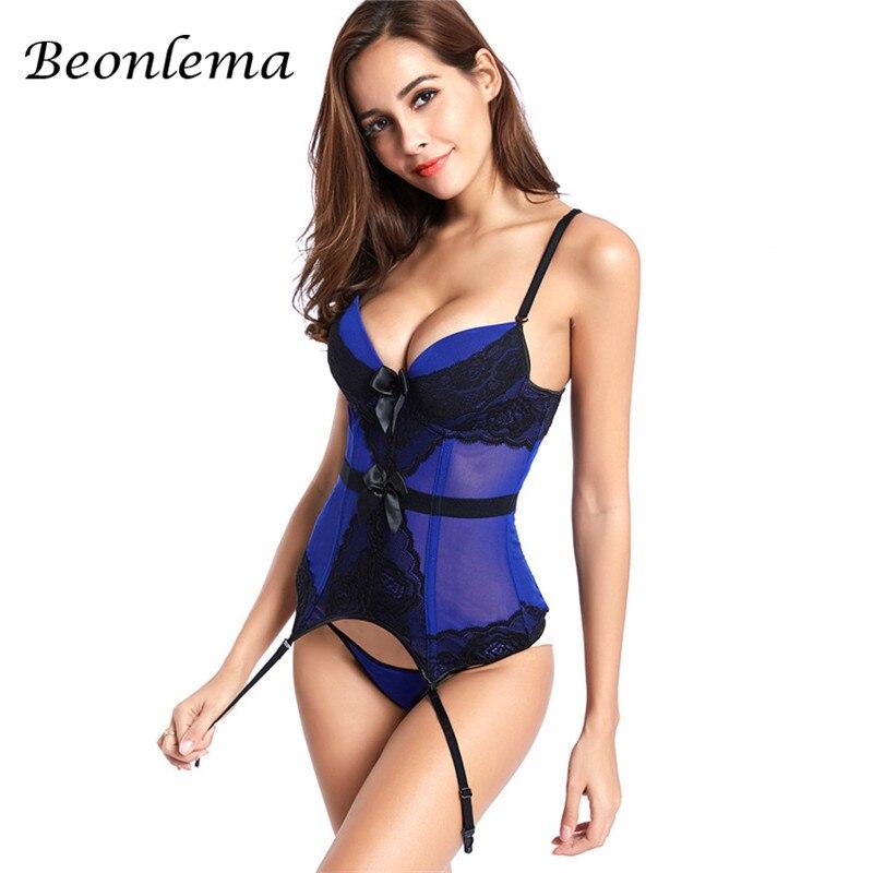 Beonlema женский сексуальный бюстгалтер Корсет Топ Плюс Размер кружевной корсет для похудения Фиолетовый Синий Бюстье черный белый Эротическое белье 6XL