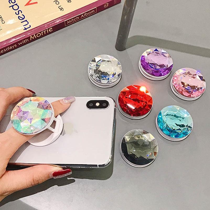2020 Luxury Colourful Phone Holder Expanding 3DBling Diamond Phone Grip Socket Bracket Stents Finger Ring For Smart Phone Stand