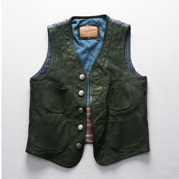 Vintage patchwork vest V-neck sleeveless genuine leather jacket men washed goatskin & Plant dyeing cotton 1