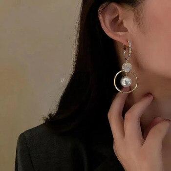 2021 New Fashion Korean Oversized White Pearl Drop Earrings for Women Bohemian Golden Round Zircon Wedding Earrings Jewelry Gift 2