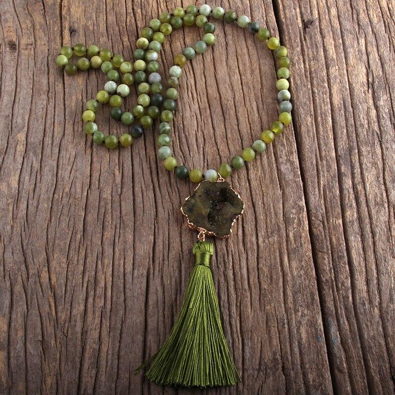 MD модное богемное ювелирное изделие, полудрагоценные камни, узелки, дразы, камни, кисточки, ожерелья для женщин, бохо ожерелье