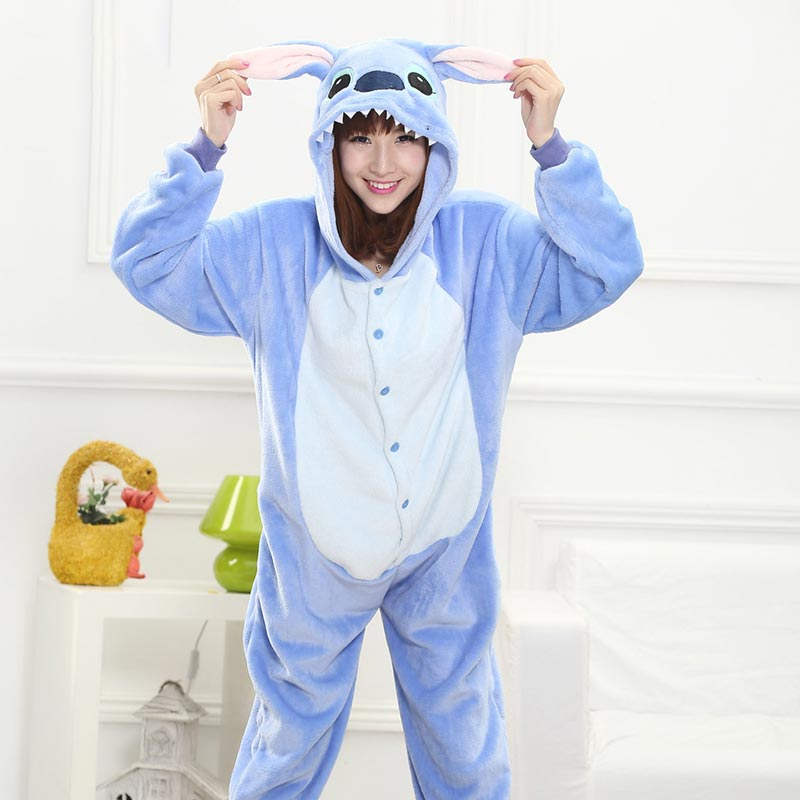 Stich Onesie Women Home Jumpsuit Anime Cartoon Stitch Kugurumi Pajama For Adult Couple Overall Winter Sleepwear Animal Outfit