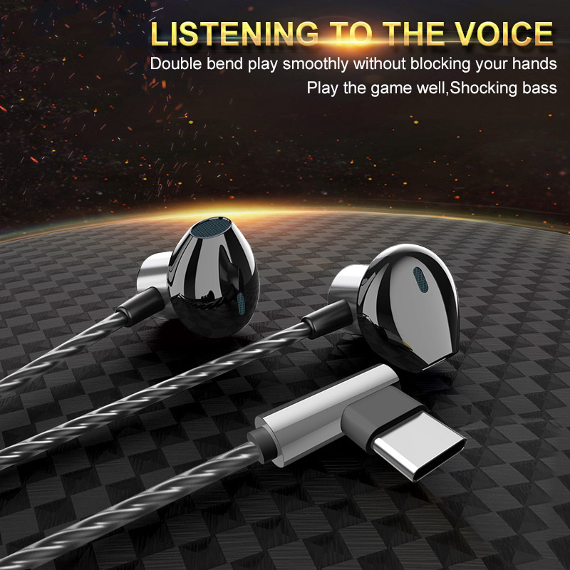 Metal Corded Headset Wired Earphone Gaming WIred Headphone Type-c IN-EAR Headset Comfortable Ear Headphones For Mobile Phone