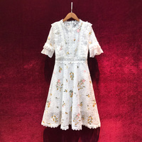 New elegant dress very fairy French aristocratic temperament heavy web celebrity embroidered lace dress western style