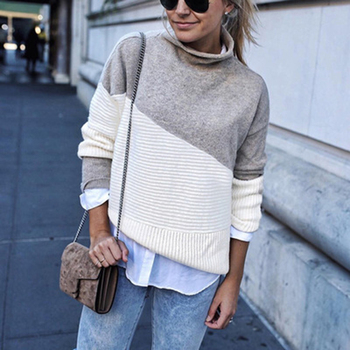 Women Knitted Sweater Autumn Winter Fashion Casual Loose Pullover Sweater Long Sleeve Half Turtleneck Knitwear Tops Female seily winter 2019 letter computer knitted yellow turtleneck sweater women zipper high neck long sleeve knitwear pullover sweter