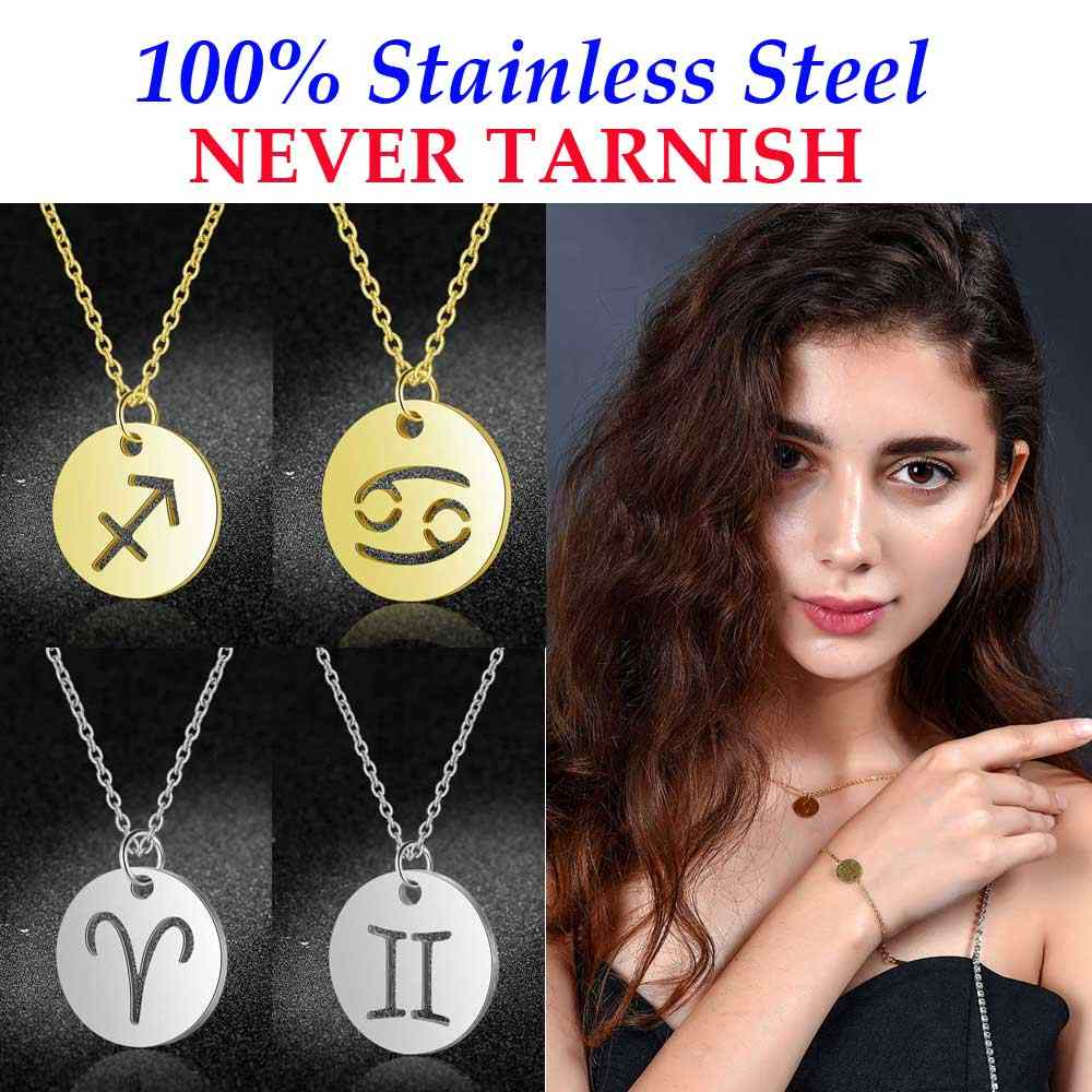 100% Genuine Stainless Steel 12 Constellation Charm Necklaces For Women High Polish Round Disc Zodiac Pendant Necklace Wholesale