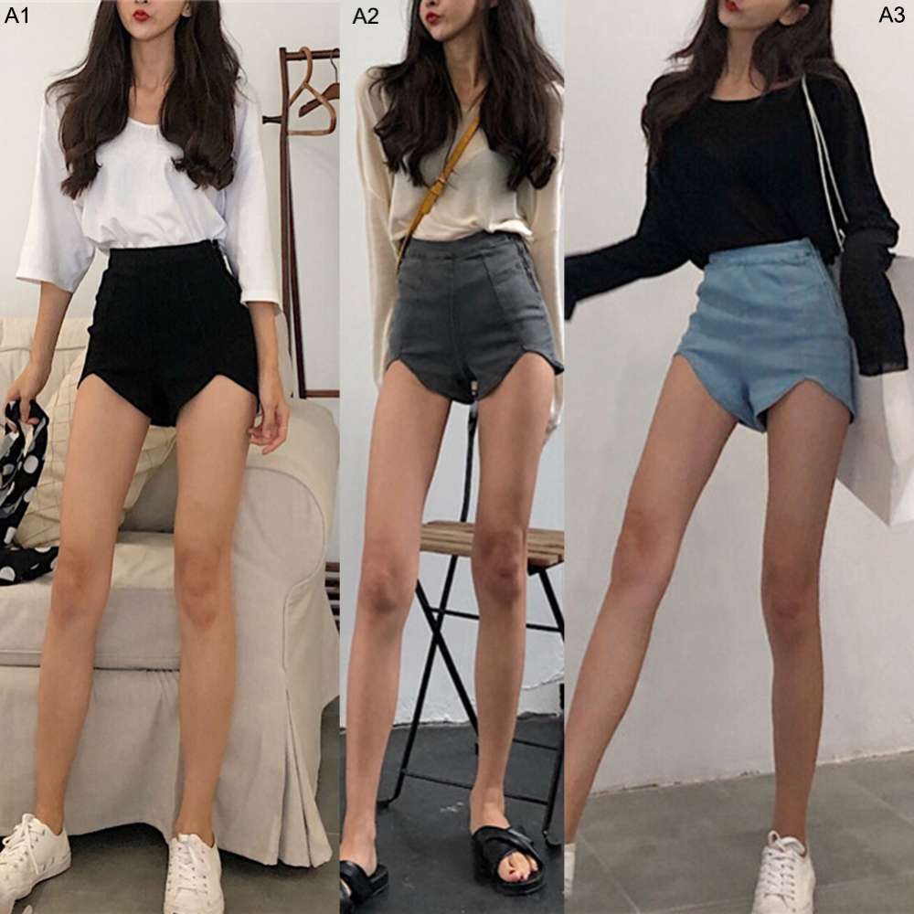 Summer Fashion womens Retro Stretch Shorts Women Slim High Waist Jeans Irregular Denim Sexy Tassel Ripped